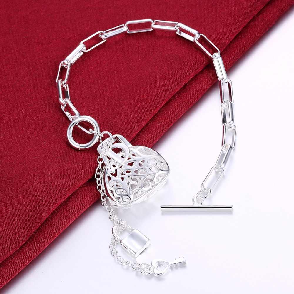 MEEKCAT chaud 925 timbre argent plaqué bijoux bracelets style européen charme treillis chaîne suspendus creux sac clé serrure bracelets