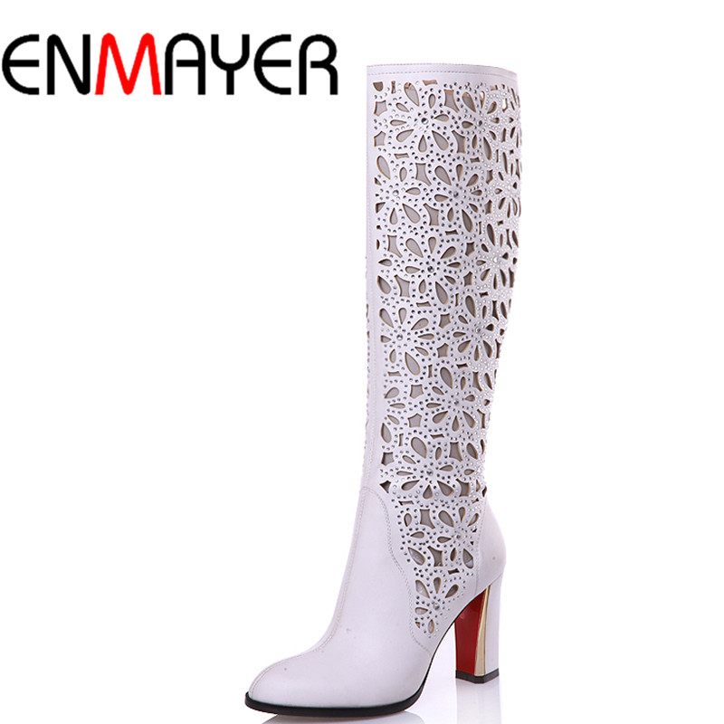 ФОТО ENMAYER New Mid-calf Boots Shoes Woman 2 Colros White Shoes Woman High Heels Cut-outs Zippers Summer Boots Brand Women Shoes