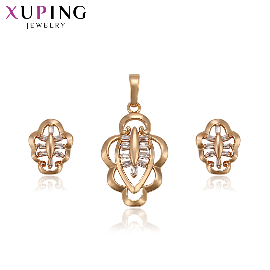 Xuping Fashion Elegant Gold Color Plated Necklace Set For Women Imitation Jewelry Sets Halloween Gifts S71,2-63717 Easy And Simple To Handle Jewelry Sets Jewelry Sets & More