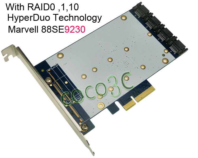 Quad SATA III Port RAID PCI-e Card HyperDuo 4 Ports SATA 6Gbps 3.0 SSD + HDD PCI Express card Built RAID0 RAID1 RAID10 2 port sata 6gbps pci express controller card raid 0 raid1 pci e to dual sata 3 0 with pcie low profile bracket