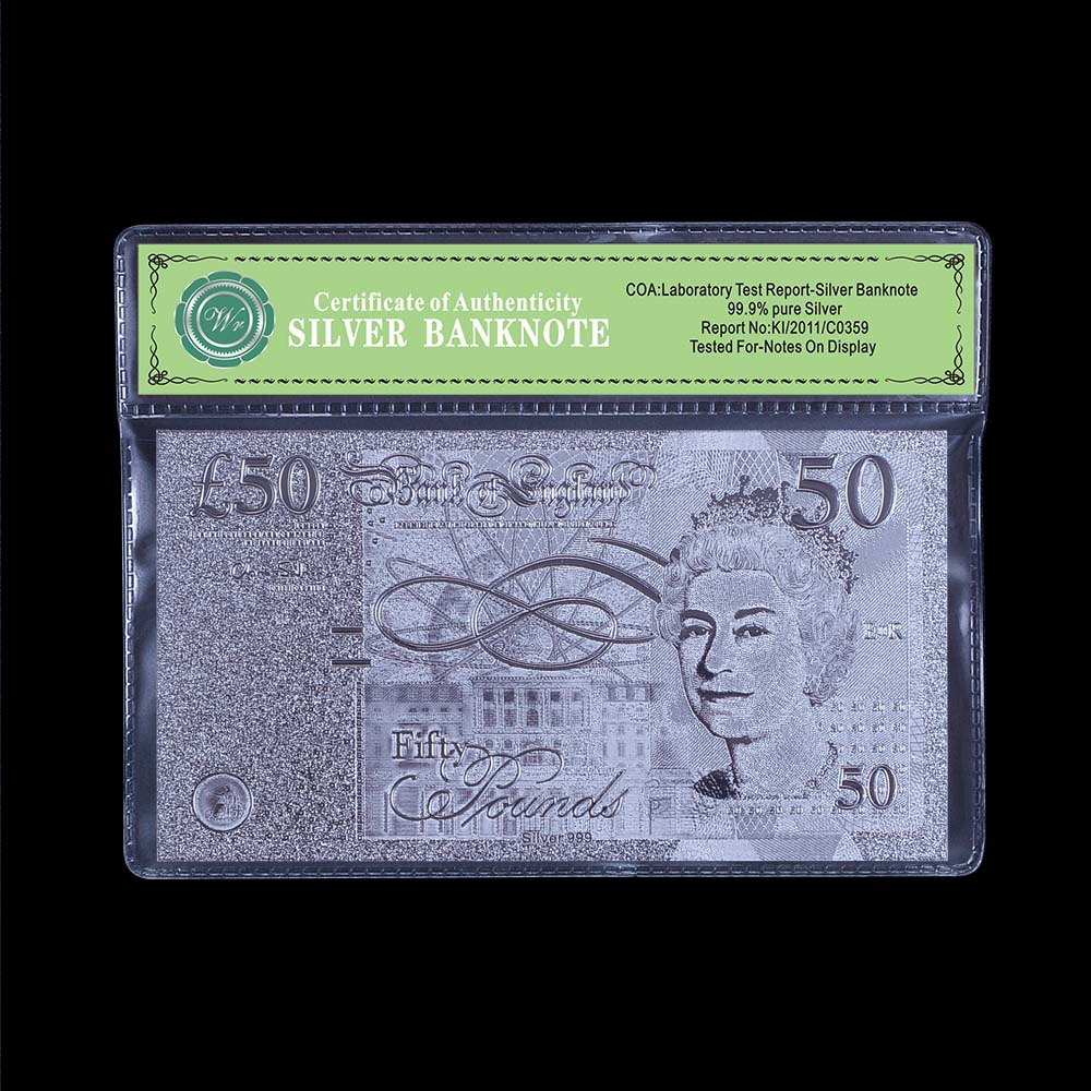 Pound Banknote Metal Silver Foil Plated