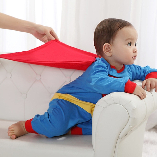 Baby Boy Romper Superman Long Sleeve with Smock Halloween Christmas Costume Gift Boys Rompers Spring Autumn Clothing