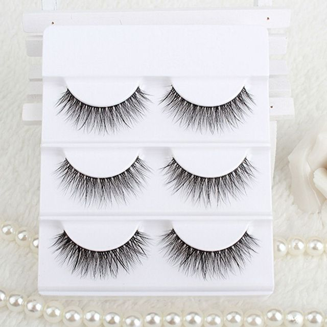 3 Pairs 100% Real Mink Fur Handmade False Eyelashes 3D Mink Eye Lashes Cross Natural Make up Fake Eyelashes Beauty Makeup Tools False Eyelashes