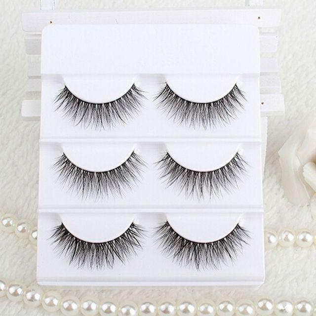 67ba2f75fb6 3 Pairs/Box 100% Handmade Real Mink Fur False Eyelashes 3D Strip Faux Mink  Lashes Thick Fake Eye Lashes Makeup Beauty Tools