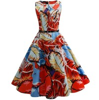 BLINGSTORY Europe New Retro Vintage 50s 60s Casual Party Robe Rockabilly Feather Print Dres Belt CCN5105