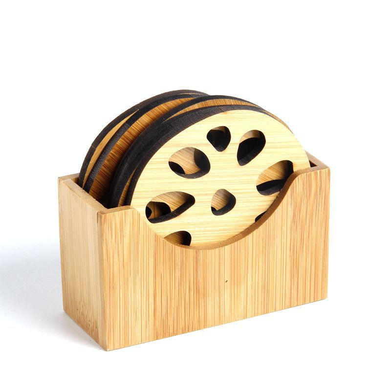 7 Pcs Set Bamboo Placemat With Storage Box Lotus Leaf Root Pattern Kung Fu Tea Coaster Teaware Accessories Gift Decorations