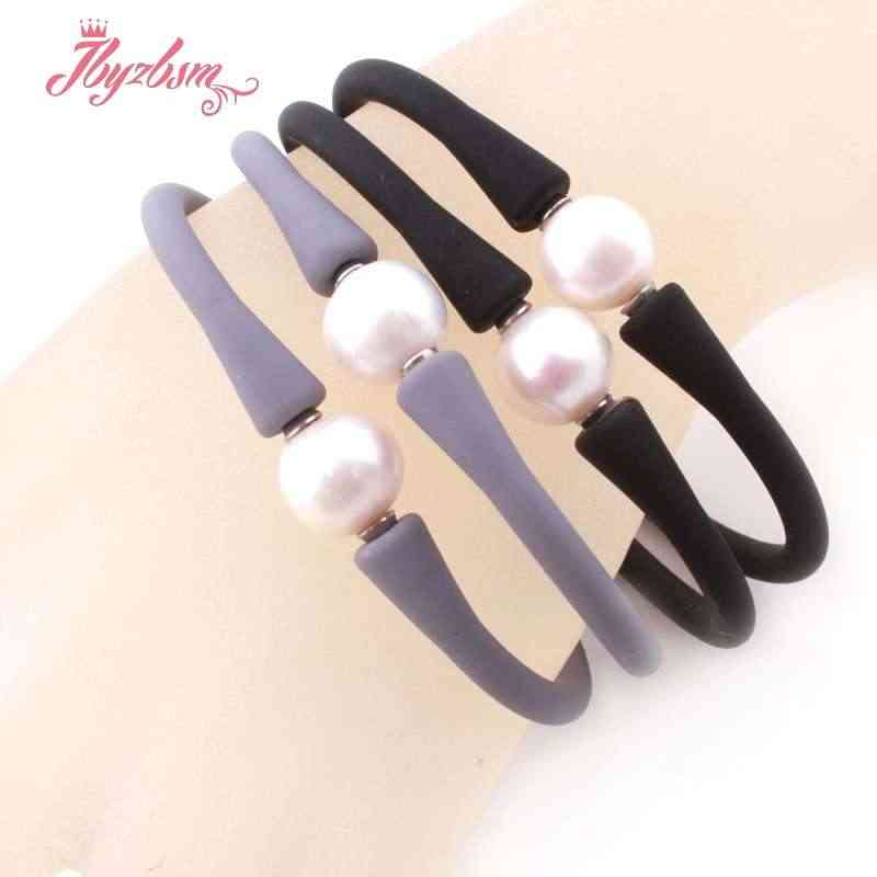 10mm Round Freshwater Pearl Silicone Bracelet Stone Beads Casual Waterproof For Christmas Best Gift Bangle Bracelet 1 Pcs