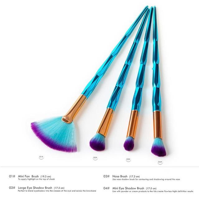 4 Pcs Makeup Brushes Kit Eye Eyebrow Fan Brushes With Diamond Concave-convex Gem Green Handles Eye Care Tools Cosmetic Brushes
