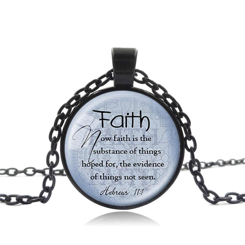 bace11cbd0f3b FLSUNSHINE FAITH HEBREWS 11:1 Pendant Bible Quote Jewelry Scripture Pendant  Necklace For Christian Faith Jewelry Gifts