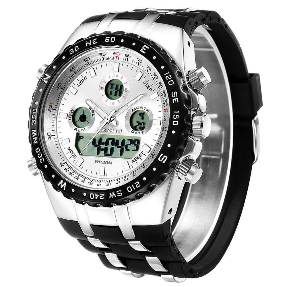 גברים שעון קוורץ מותג יוקרה למעלה מקורי שעון הדיגיטלי LED רב תכליתי הצבא הצבאי ספורט שעוני יד relogio masculino