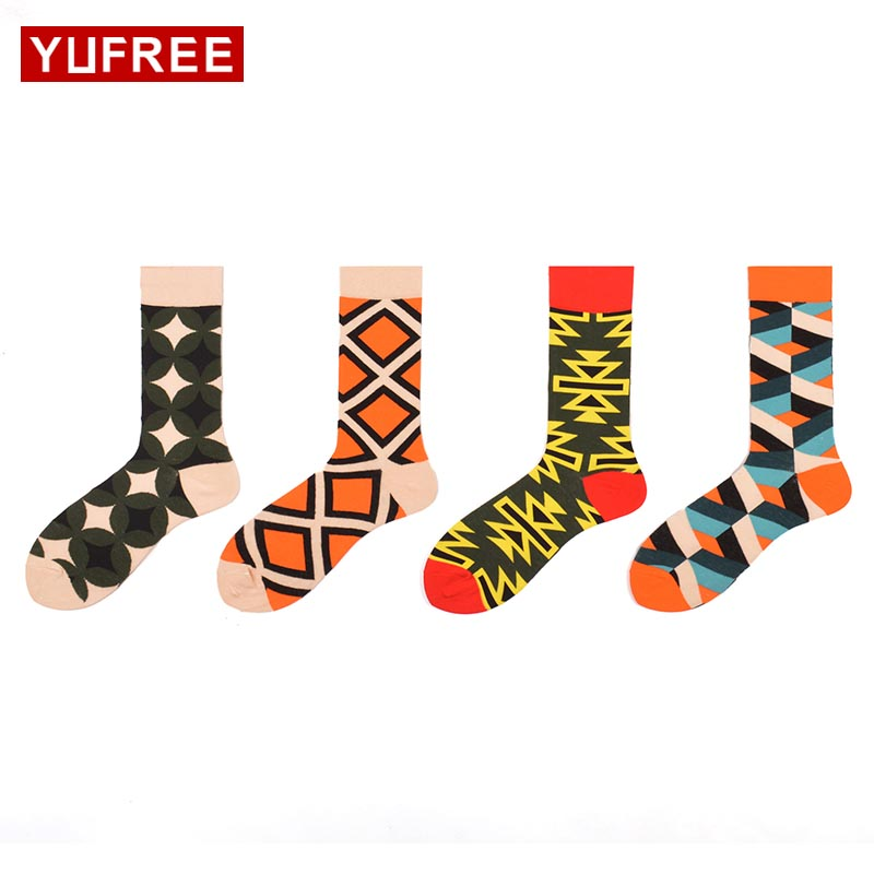 Yufree 2018 New Men Socks High Quality Cotton Geometry Male Tube Socks Hit Color MenS Funny Happy Socks Hot Sale