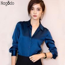 цена на Silk Blouses Shirts 2017 New Long Sleeved Shirt Women Elegant Lady Tops Camisas Femininas Blusas 5 Colors Plus size XXL