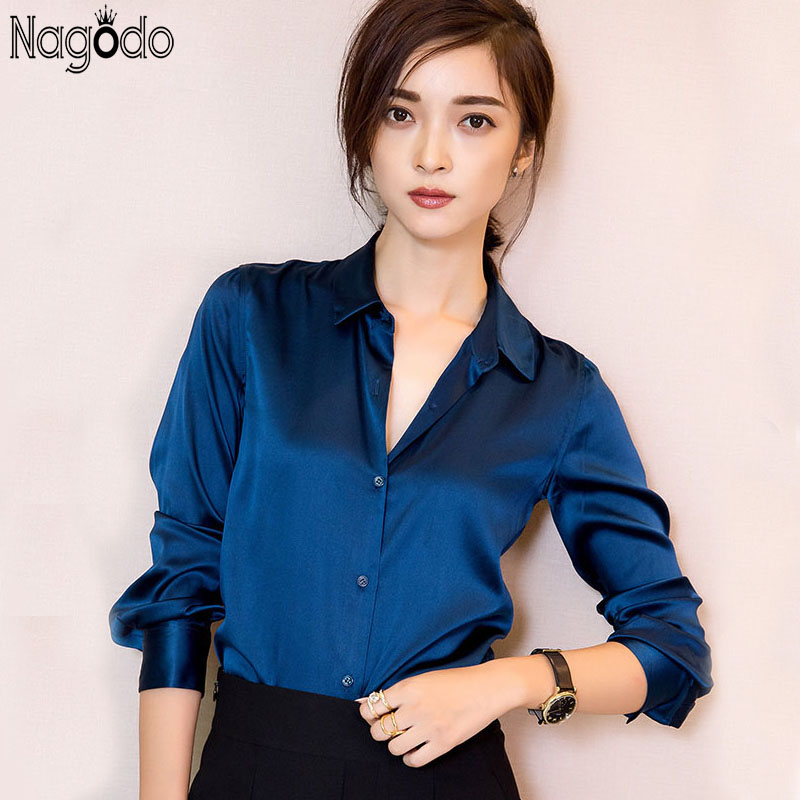 Silk   Blouses     Shirts   2018 High quality office Long Sleeve   Shirt   Women Elegant Ladies Tops Camisas Femininas work wear woman   shirt