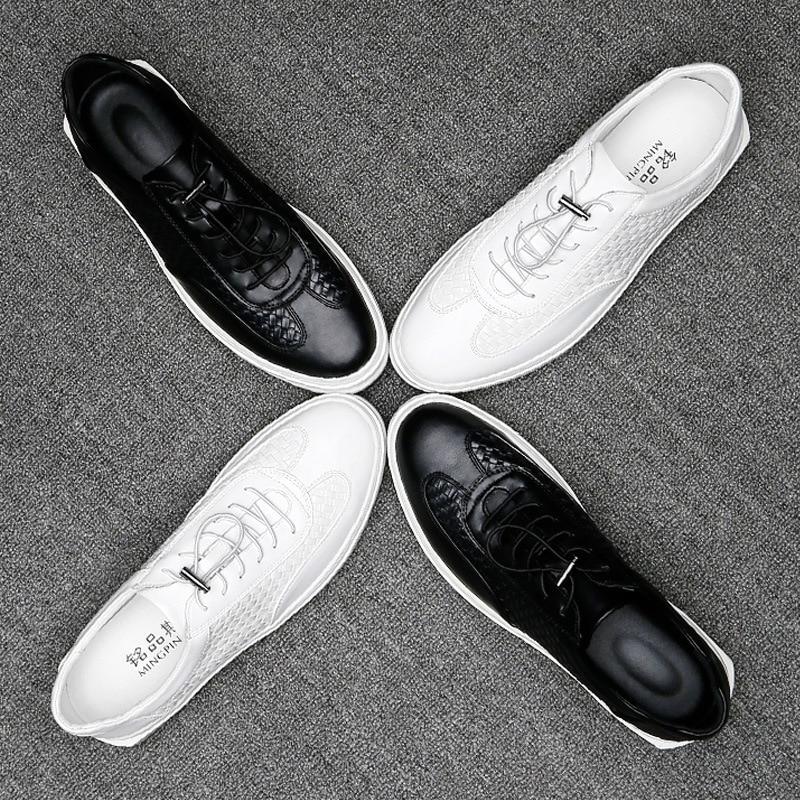 Dos up Couro Moda Apartamentos Quente Divisão Venda Mocassins Sapatos Lace Confortáveis Qualidade 2018 Homens Casuais White black De 4q7Xqw