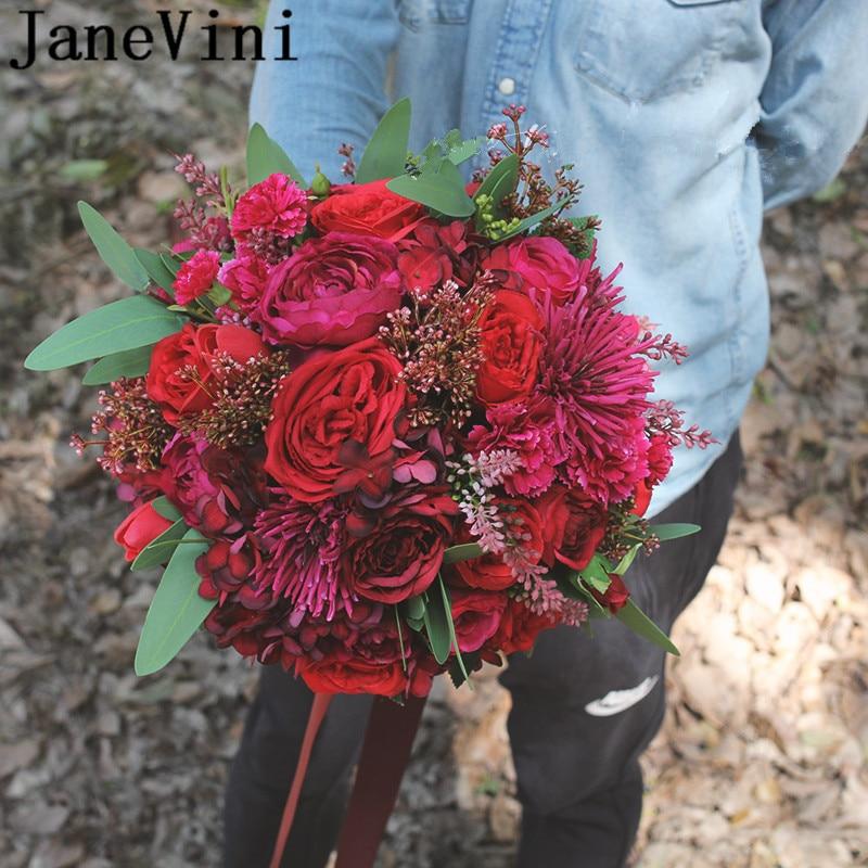 JaneVini Artificial Red Roses Wedding Bouquet Mariage Rose Fuchsia Silk Bridal Bouquets Ribbon Western Wedding Bride Flowers New
