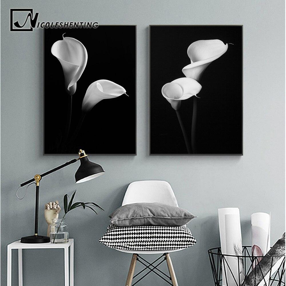 Décoration Salon Moderne Noir Et Blanc mur art toile affiche noir et blanc fleur impression scandinave peinture  nordique décoration photo moderne salon décor