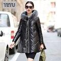 4XL Плюс размер Свободной стиль 2016 Женщин Зимнее Пальто натуральная Кожа Овчины Вниз Пальто Кожаные Куртки с Лисой Меха 817B