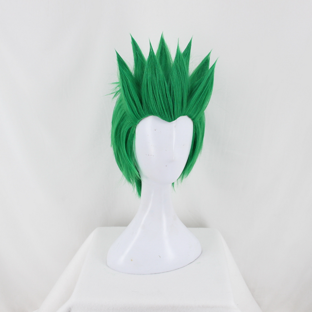 Anime Overwatch Genji OW Short Green Cosplay Costume Wig Slicked back Heat Resistant Synthetic Hair Free Wig Cap in Anime Costumes from Novelty Special Use