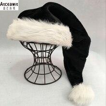 75 см черная плюшевая шапка, белая меховая Рождественская шапка для взрослых, вечерние шапки высокого качества с мехом, рождественские шапки для детей и взрослых, плюшевые вечерние украшения для дома