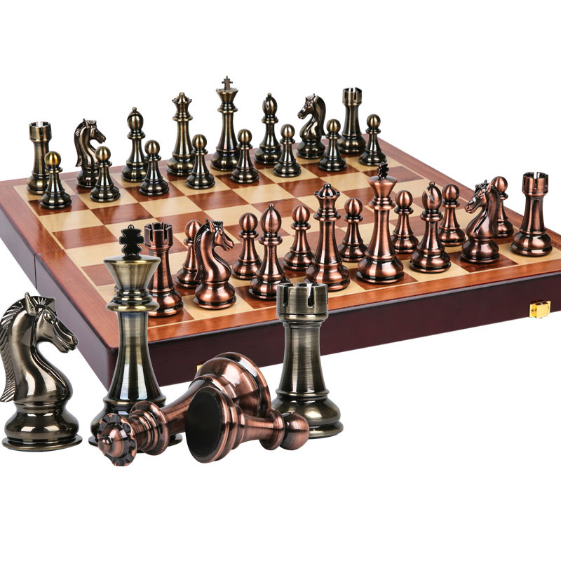 BSTFAMLY Wooden Chess Set Game, Portable Game Of International Chess, High-grade Folding Chessboard Kirsite Chess Pieces LA7