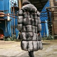 Новые роскошные Для мужчин зима 100 см длинные натуральным лисьим Мех животных пальто Мода 2017 г. натуральный Серебро/Red Fox Мех животных полным