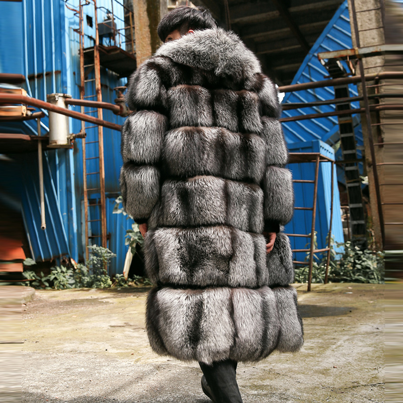NEW Luxury Men Winter 100cm long Real Fox Fur Coat 2017 Fashion Natural Silver/Red Fox Fur Full Pelt Thick Men jacket with Hood