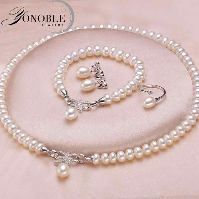 Wedding jewelry set white bridal jewelry sets for women,925 sterling silver natural pearl jewelry wife engagement birthday gift