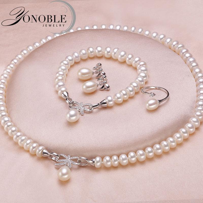 Ensemble de bijoux de mariage blanc de mariée bijoux ensembles pour les femmes, 925 en argent sterling perle naturelle bijoux femme cadeau de fiançailles anniversaire