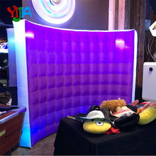 Nice Multi Color With White Inflatable Wall backdrop with 2pcs LED strips color changing by remote Photo booth wall  for Party