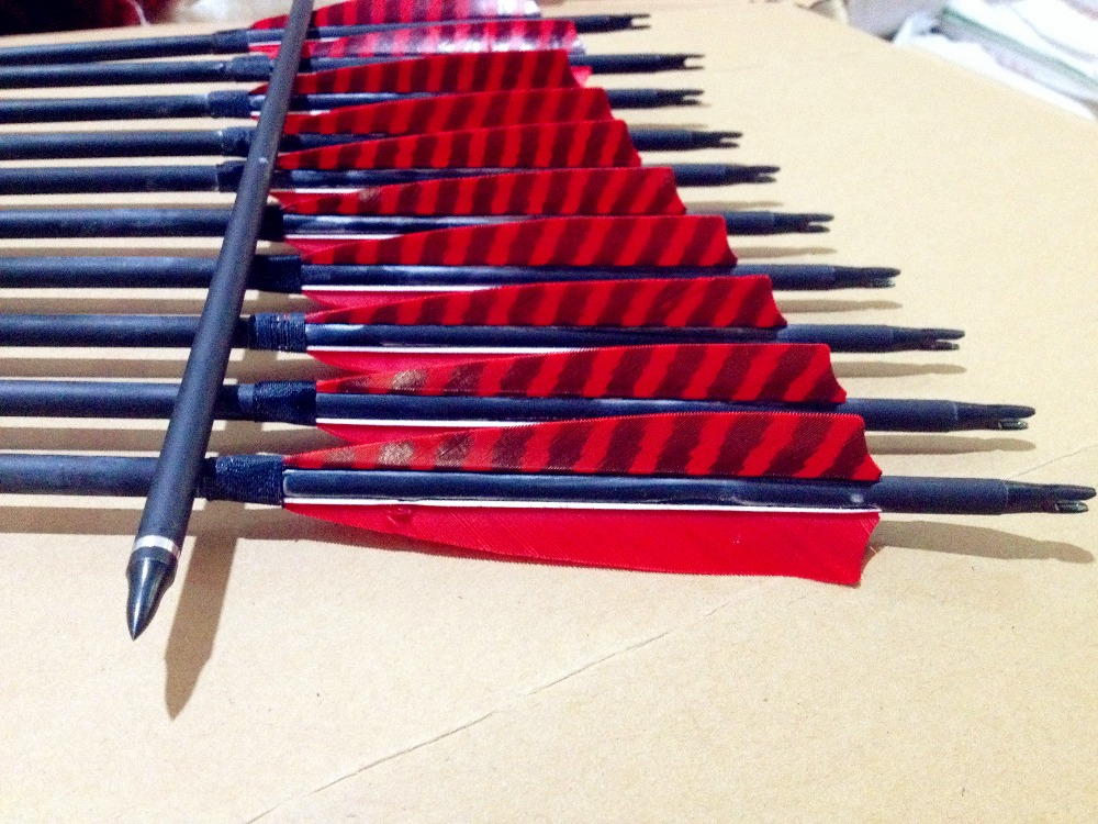 12 red stripe carbon arrow 32 inch outdoor archery hunting practice game for recurve bow-in Bow & Arrow from Sports & Entertainment    1