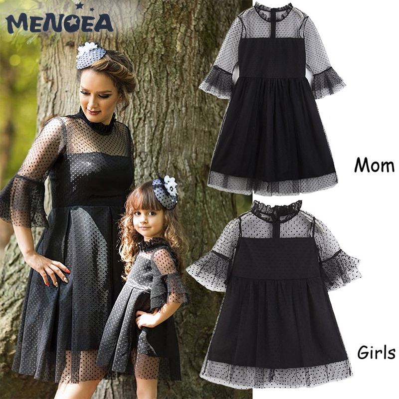Menoea Household Matching Outfits Spring Summer time Ladies Lace Costume New Mom And Daughter Black Wave Level Costume Girls Garments