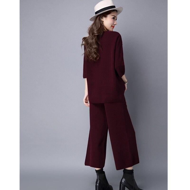 Yagenz Deux Gray 2017 pièce black Casual De Vêtements Mode Col Automne Tricoter red Rond Femmes Printemps Costume Wine Chandail Pantalon Ensemble Lâche Lady À Set 2xl r5czBWrT