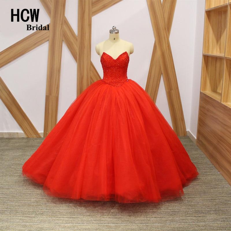 """""""HCWBridal"""" prabangi raudonos spalvos rutulinė suknelė vakarinė suknelė prie pečių blingo kristalai perlai pūkuotos ilgos oficialios vakarinės suknelės"""