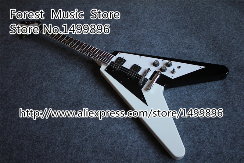 Custom Shop China White And Black Finish Flying V Electric Guitars With Chrome Hardware Free Shipping china custom shop transparant grey finish lp electric guitars with mahogany solid body for sale
