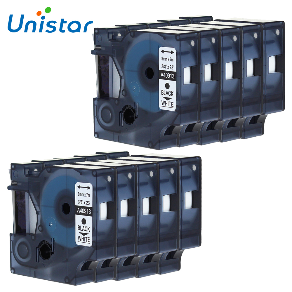 10PCS Lot Dymo 9mm Cartridge Compatible for Dymo D1 Label Tape 40913 Label Maker Black on