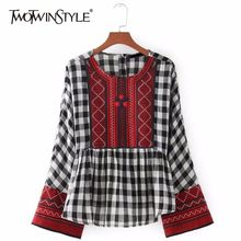 TWOTWINSTYLE Embroidery Plaid Patchwork Women Shirts Blouses Long Sleeve Loose Tops Female Casual Clothing 2019 Spring Fashion(China)