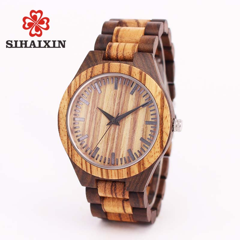 купить SIHAIXIN wood watches men zebra quartz watch Japan miyota 2035 wooden strap clock man top brand luxury with Gift Box онлайн