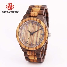 SIHAIXIN wood watches men zebra quartz watch Japan miyota 2035 wooden strap clock man top brand luxury with Gift Box
