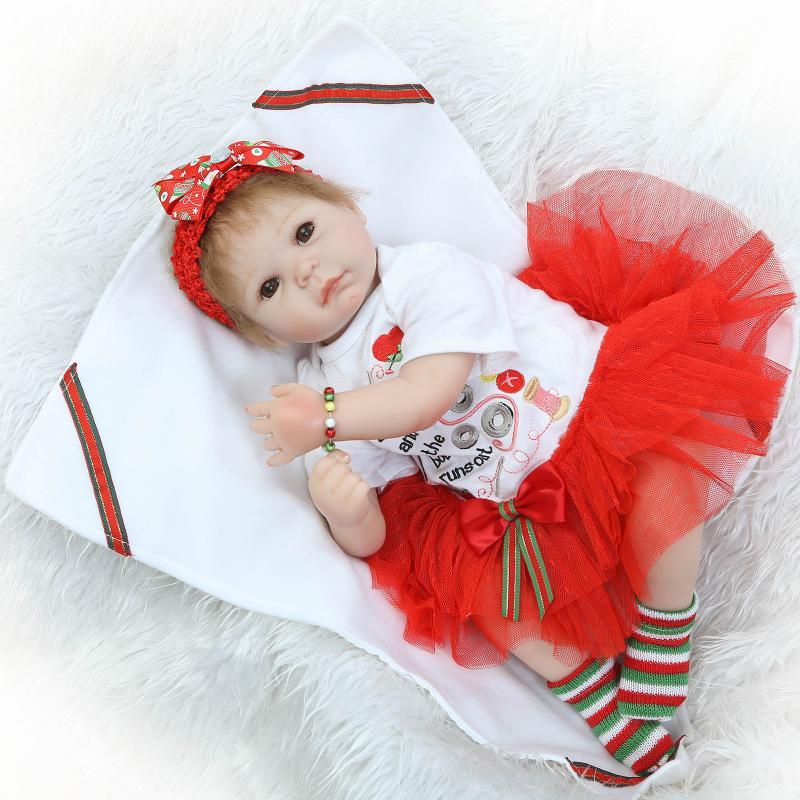 55cm Simulation Lifelike Silicone Vinyl Reborn Baby Doll Toys Christmas Birthday Gift Girl Brinquedos Play House doll