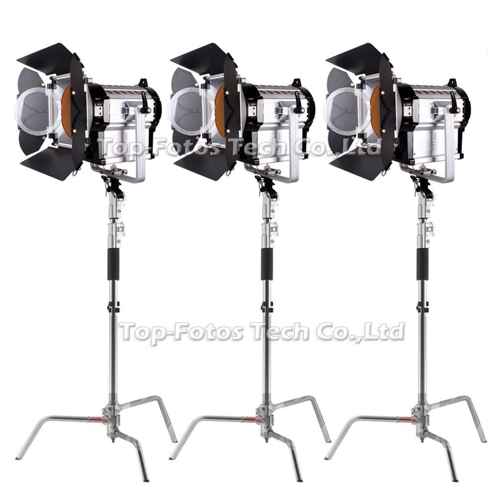 ALUMOTECH C-standsX3 + 3 piezas 2000WS LED Fresnel de atenuación LED de enfoque foco Kit para Video Studio fotografía de la lámpara de apoyo