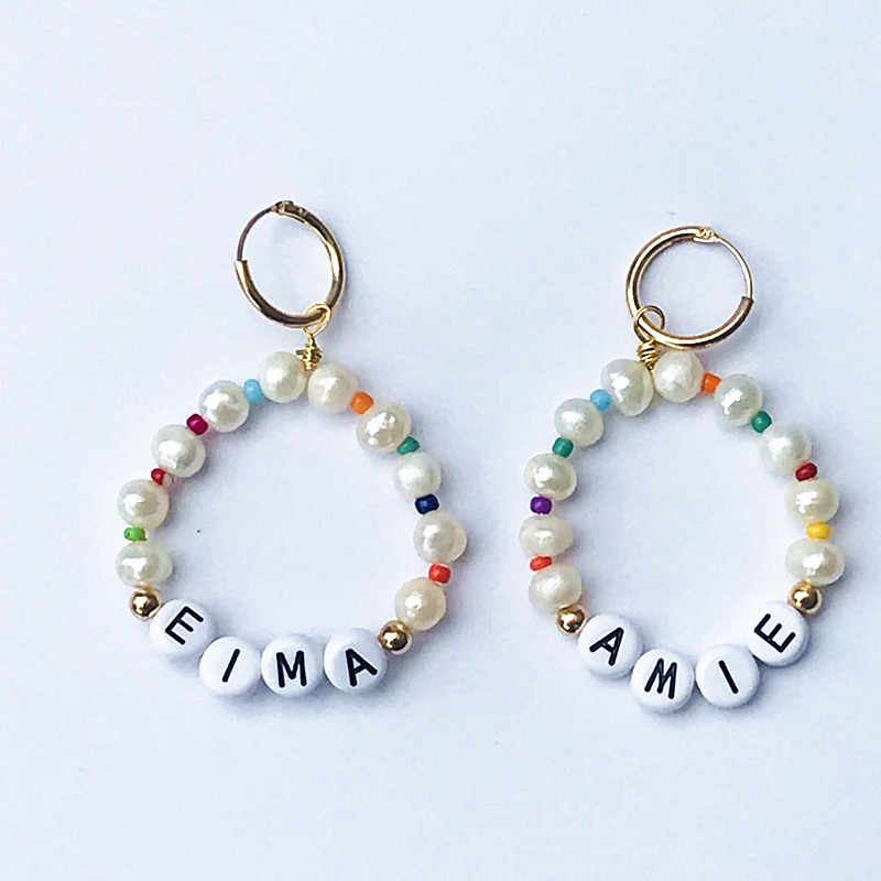 Bohemian fashion pearl earrings ladies charm jewelry letter name personalized custom earrings Baroque style Boucles d'oreilles