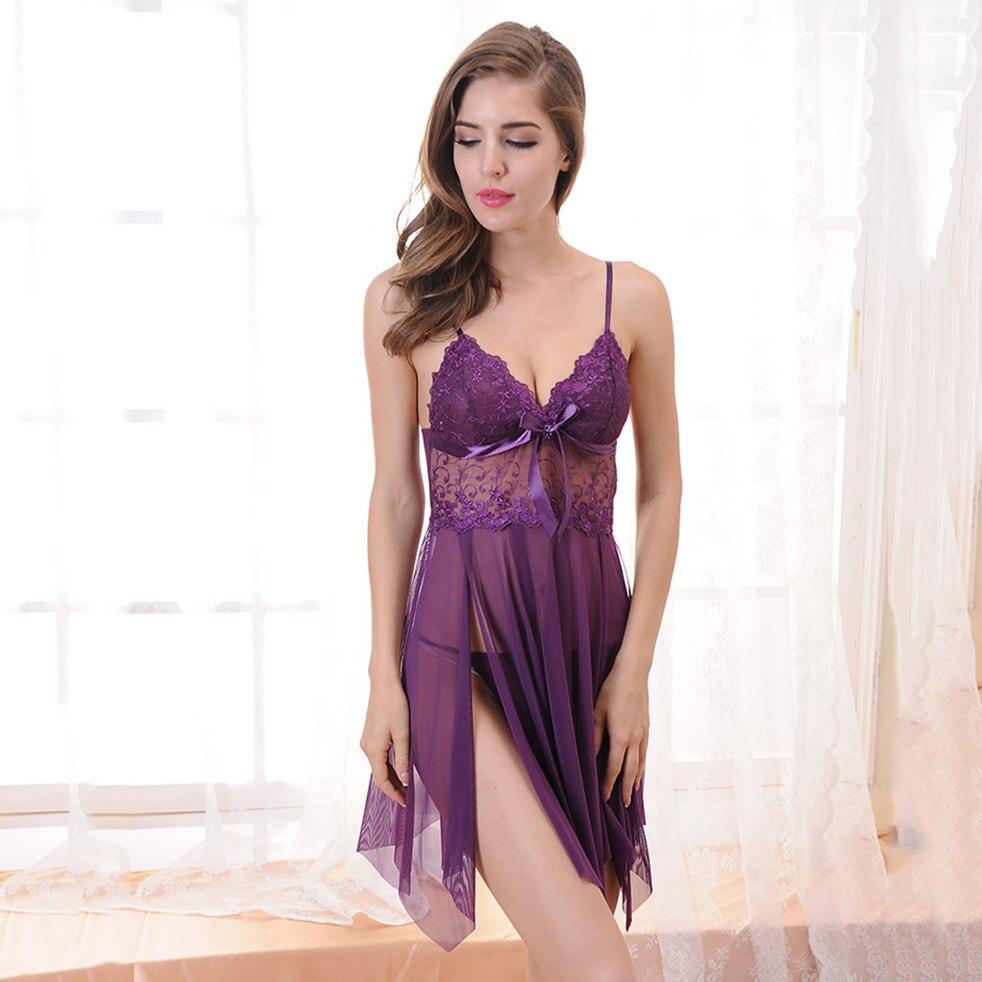Women Nightgown Hot Nightwear Sexy Lingerie Lace Slits Nightdress V-neck Nightie Vintage Sleepwear Female Pijama embroidery 4