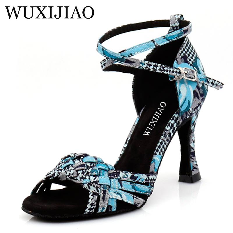 WUXIJIAO Dance Shoes Latin Woman Houndstooth Printed Cloth Salsa Dancing Shoes  Professional Dance Shoes Ballroom Soft Shoes