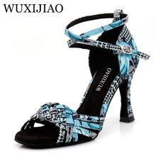 WUXIJIAO/танцевальная обувь для латинских женщин с принтом «гусиные лапки»; тканевая танцевальная обувь для сальсы; профессиональная танцевальная обувь; Бальные мягкие туфли