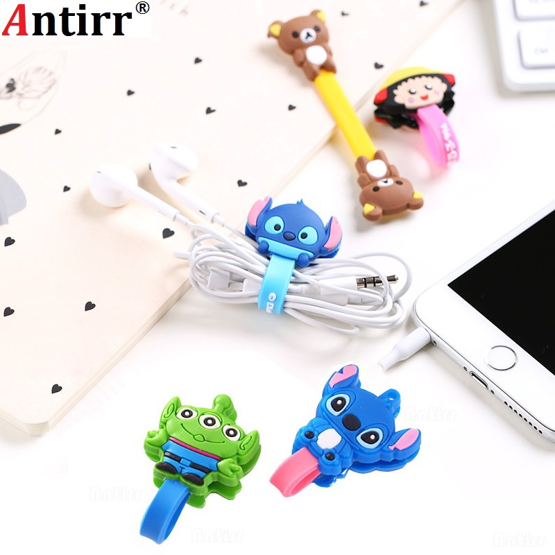 Multipurpose Cartoon Charger USB Cable Bobbin Winder Data Line Protector Earphone Wire Cord Organizer Management Fastener Fixer