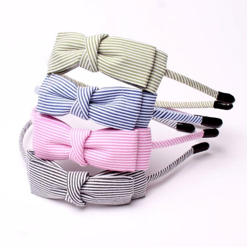 New Stripe Fabric Scrunchy Kvinnor Girls Turban Headband Hair Head - Kläder tillbehör - Foto 5