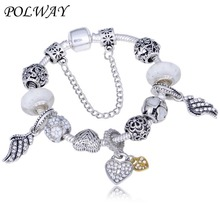 Polway Vintage Silver Color Charm Bracelet For Women with Heart Pendant Feather tail Bracelet Dropshipping classic english word carved heart pendant bracelet for women