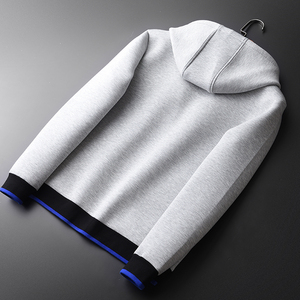 Image 2 - Sudaderas con capucha grises Minglu, sudaderas con capucha de tela combinada de lujo para hombre, sudaderas de talla grande 3XL 4XL, sudadera ajustada para primavera para hombre