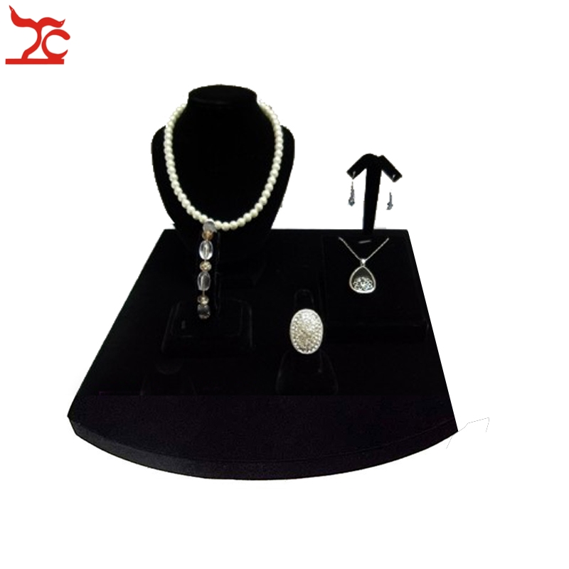 Small Pendant Earring Holder Jewelry Showcase Display Rack Black Velvet Necklace Holder Ring Bracelet Pendant Stud Earring Stand