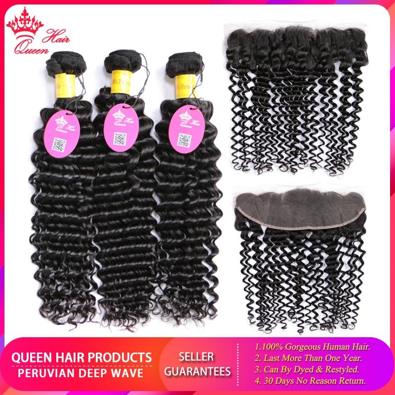 Queen Hair Peruvian Deep Wave 3 Bundles With Frontal Human Hair Weave Bundles 13x4 Lace Frontal